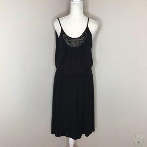 Lane Bryant black swing dress with beaded bib